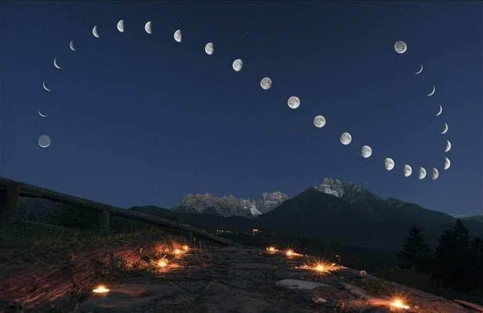 The Moon. A photo taken continuously for 28 days, at the same place, at the same time.