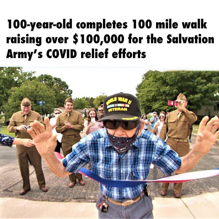 lOO-yeuhold completes 100 mile walk raising over $100,000 for llle Salvation Army's COVID relief efforts