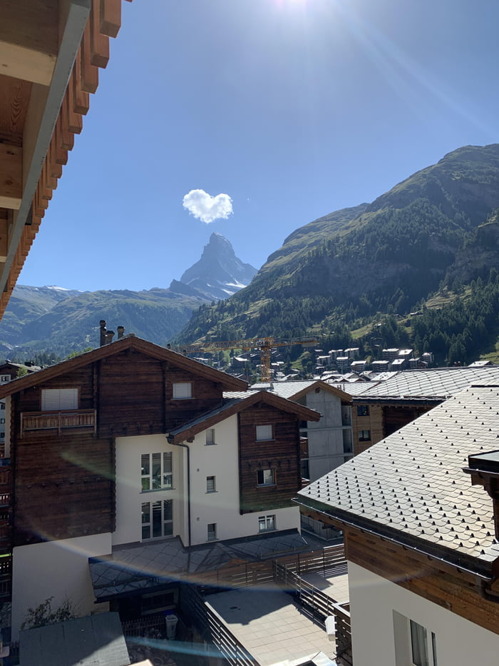 A heart-shaped cloud on top of the Matterhorn