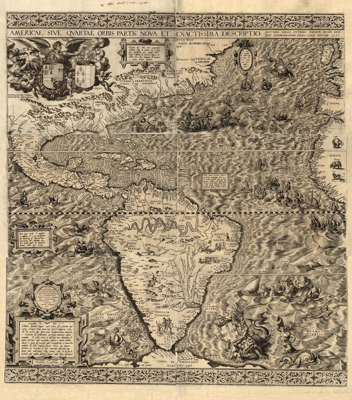 This is one of the most beautiful early maps ever created. Only one exists in the Library of Congress. 1562 America by Diego Gutierrez. First to name California and the Appalachians