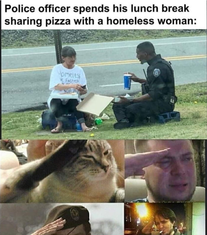 Police officer spends his lunch break sharing pizza with a omeless woman'  h